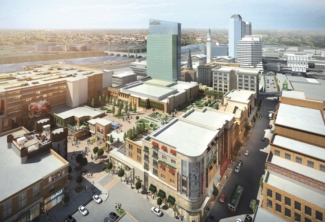 in this rendering you can see the market rate housing where the hotel now stands.